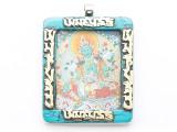 Turquoise, Brass & Silver Frame Tibetan Pendant 56mm (TB693)