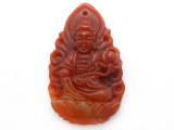 Carnelian Carved Buddha Pendant 42mm (GSP3887)