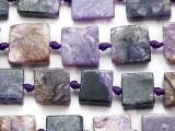 Charoite Block Tabular Gemstone Beads 12-14mm (GS5323)