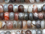 Botswana Agate Faceted Rondelle Gemstone Beads 9mm (GS5334)