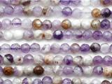 Chevron Amethyst Faceted Round Gemstone Beads 4mm (GS5336)