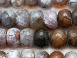 Brown Crackle Agate Faceted Rondelle Gemstone Beads 15mm (GS5342)