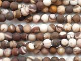 Matte Brown Zebra Jasper Round Gemstone Beads 4mm (GS5358)