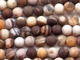 Matte Brown Zebra Jasper Round Gemstone Beads 6mm (GS5363)