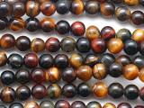 Mixed Tiger Eye Round Gemstone Beads 4mm (GS5382)