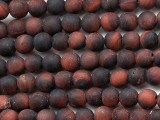Matte Red Tiger Eye Round Gemstone Beads 4mm (GS5387)