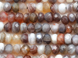 Botswana Agate Faceted Rondelle Gemstone Beads 6-8mm (GS5396)