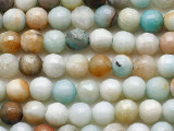 Pearlescent Black Gold Amazonite Faceted Round Gemstone Beads 6mm (GS5411)