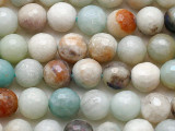 Pearlescent Black Gold Amazonite Faceted Round Gemstone Beads 8mm (GS5414)