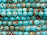 Turquoise Faceted Round Beads 3-4mm (TUR1482)