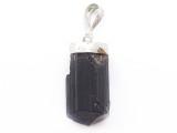 Black Tourmaline & Sterling Silver Pendant 26mm (GSP3939)