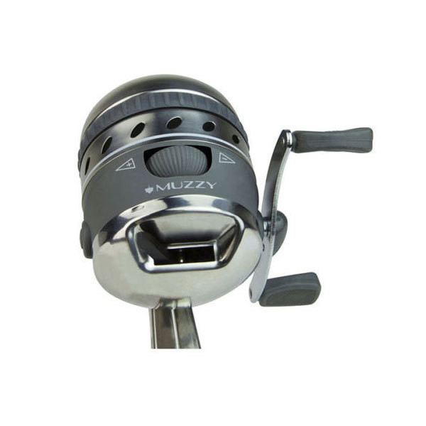 Muzzy Improved Spin style bowfishing reel with integrated Reel Mounting system With 150# Line Installed