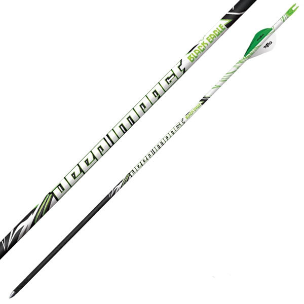 "Black Eagle Deep Impact Crested Fletched Arrows - .001"" 6 Pack - 400"