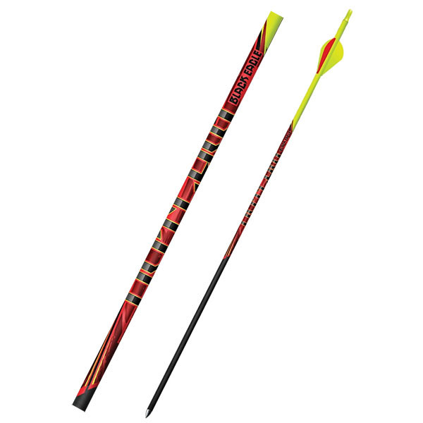 """Black Eagle Outlaw Fletched Crested Arrows - .005"""" 6 Pack - 400 - Flourescent Yellow Crested"""