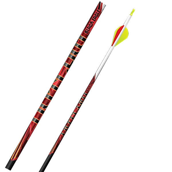 """Black Eagle Outlaw Fletched Crested Arrows - .005"""" 6 Pack - 300 - White Crested"""