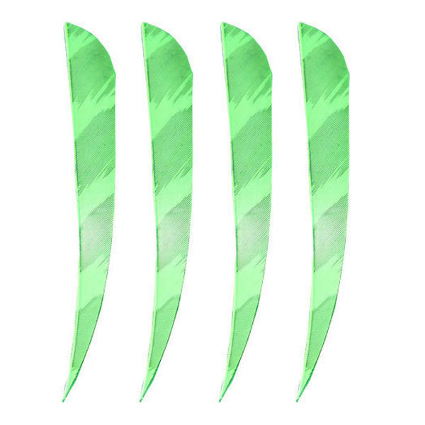 "Muddy Buck Gear 4"" Parabolic RW Barred Feathers - 50 Pack (Flo Green)"