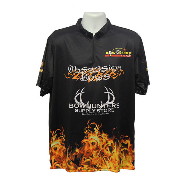 Bowhunters Supply BHSS Logo Obsession Flame Jersey - Black - Large