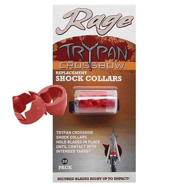 Rage 2-Blade Expandible Broadhead Hypodermic TRYPAN Shock Collars 20pk Crossbow