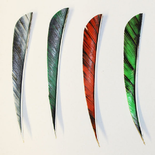 "Muddy Buck 3"" Parabolic Feathers - RW - White Camo (12 Pack)"