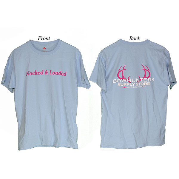 Bowhunters Supply Store Tee Light Blue/Pink 2XL