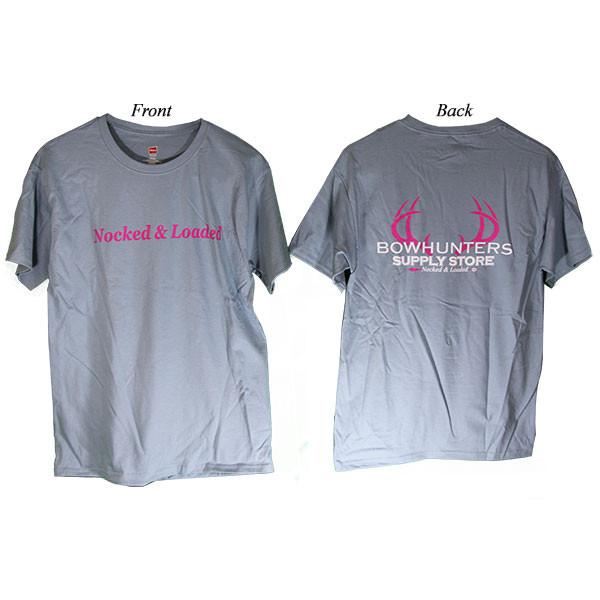 Bowhunters Supply Store Tee Blue/Pink Medium