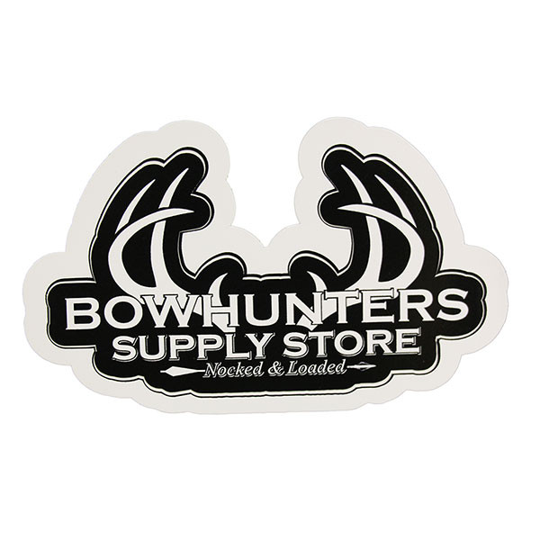 Bowhunters Supply Store 4 x 2.25 Decal w/White Antlers