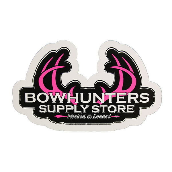 Bowhunters Supply Store 4 x 2.25 Decal w/Pink Antlers