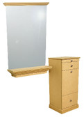 Jeffco E04 Elite Styling Vanity with optional Jeffco E07 Mirror and Ledge
