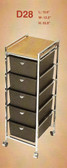 Pibbs D28 5 Drawer Cart with Metal Frame with Topper