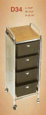 Pibbs D34 4 Drawer Cart with Metal Frame with Side Panels with Topper