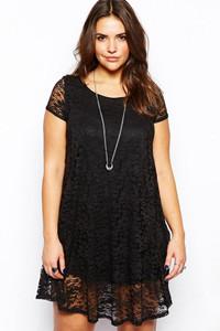 Black Lace Overlay Plus Mini Dress