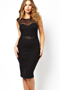 Black Curve Belted Midi Dress with Ruched Mesh