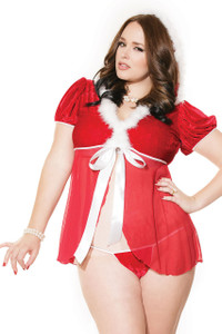 White Plus Fur Trim Mesh Splice Hooded Santa Babydoll Set