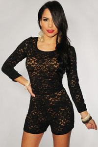 Black Plus Size Black Lace Nude Illusion Knotted Key-Hole Back Romper