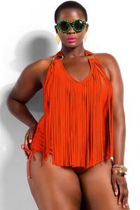 Orange Fringe Embellished Plus Size Halter Monokini