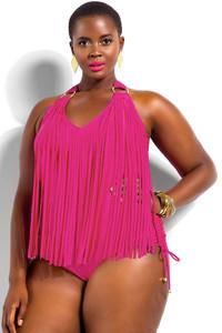 Rosy Fringe Embellished Plus Size Halter Monokini