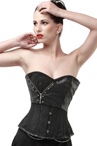 2pcs Plus Size Black Brocade Corset with Faux Leather Detail