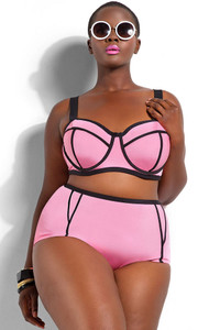 Pink Plus Size Underwire Top Bikini