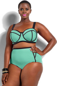 Green Plus Size Underwire Top Bikini