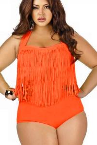 Orange Fringed High-waist Swimwear Plus Size