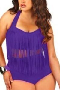 Purple Fringed High-waist Swimwear Plus Size