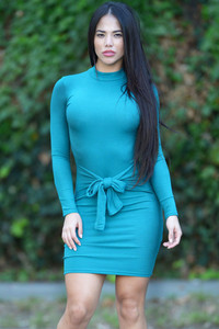 Blue Tie Front Long Sleeve Casual Mini Dress
