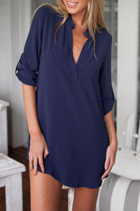 Blue All of My Kindness Blue Shirt Dress