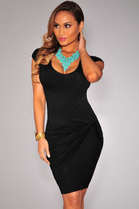 Black Knotted Draped Side Dress