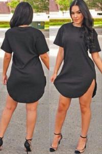 Black Side Slit Mini T-shirt Dress