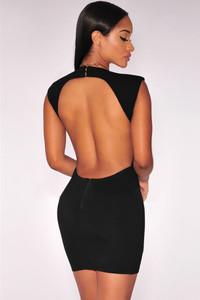 Black Daring Scoop Back Wrap Mini Dress