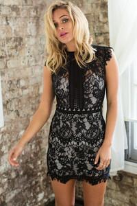 Black Lace Overlay Mini Dress