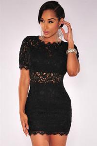 Black Crochet Lace V Back Mini Dress