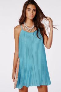 Blue Chiffon Pleated Swing Dress