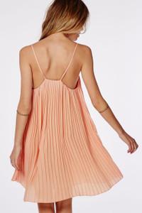 Apricot Chiffon Pleated Swing Dress
